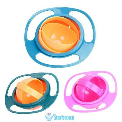 Baby Kids Feeding Dish Gyro Bowl Universal 360 Rotate Spill-Proof Bowl Dishes UK