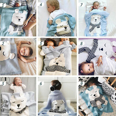 Polar Bear Kids Baby Napping Blankets Bedding Towel Cover Throws Swaddle Wrap