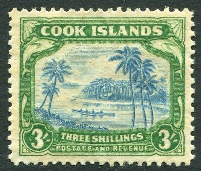 COOK ISLANDS-1945 3/- Greenish Blue & Green Sg 145  MOUNTED MINT V20823