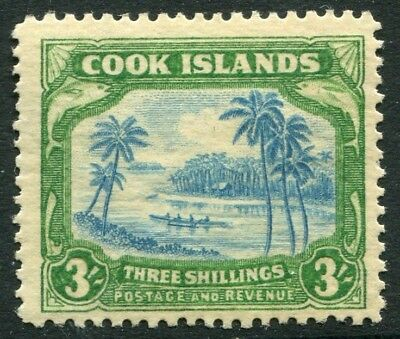 COOK ISLANDS-1945 3/- Greenish Blue & Green Sg 145 MOUNTED MINT V20824