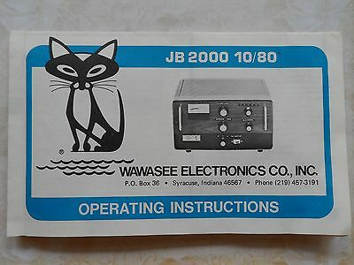 Wawasee Black Cat JB-2000 Copy of Manual With Schematics  ~Another Rare Version~
