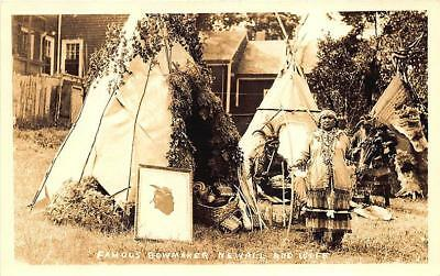Famous Indian Bowmaker Newall & Wife Teepee RPPC Postcard