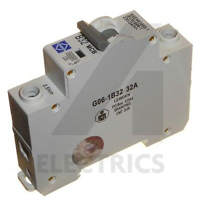 32 Amp Type B Circuit Breaker MCB 6kA Single Pole 1 Phase 32A DIN Rail Lewden