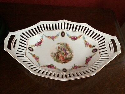 Vintage Made In Germany 9.5 x 6 Handled Plate/Basket Courting Scene