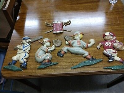 Vintage Lot of 5 1970's Sexton Metal Baseball Player Batter Pitcher Wall Hangers