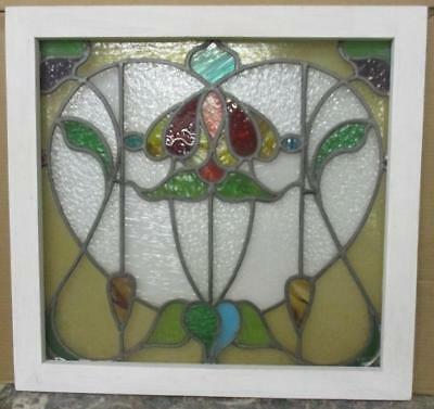 "MID SIZED OLD ENGLISH LEADED STAINED GLASS WINDOW Gorgeous Floral 25"" x 24"""