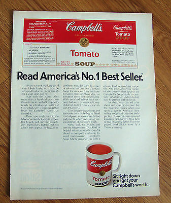 1970 Campbell's Tomato Soup Ad Read America's No0 1 Best Seller