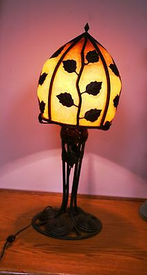Modern French Reproduction Art Deco Wrought Iron  Table Lamp/ Yellow Glass Shade