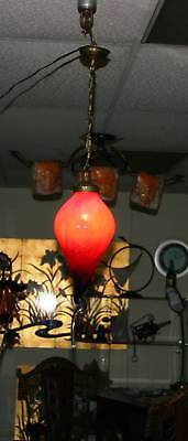 Modern Art Deco Handmade  Glass Globe Ceiling Lamp Red Europe/romania Post 1940