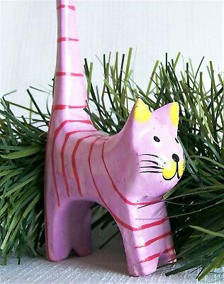 "Wooden Cat Figurine Hand Carved Folk Art, Lavender with Red Stripes 5"" tall"