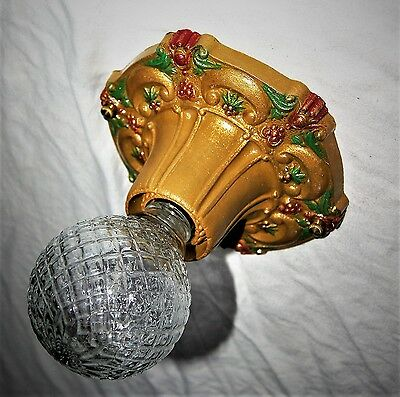 Vtg Deco Victorian Cast Metal Flush Mount Chandelier Ceiling Fixture 1930's