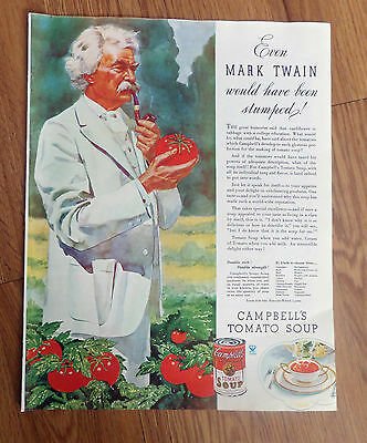 1934 Campbell's Tomato Soup Ad  Even Mark Twain would have been Stumped