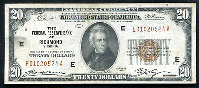 Fr. 1870-E 1929 $20 Frbn Federal Reserve Bank Note Richmond, Va Vf+ (I)