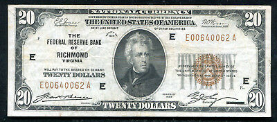 Fr. 1870-E 1929 $20 Frbn Federal Reserve Bank Note Richmond, Va Vf+ (N)