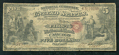 "1865 $5 The First Nb Of Chicago, Il National Currency ""Contemporary Faux"""