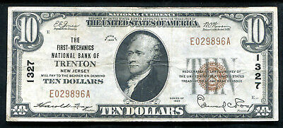 1929 $10 The First-Mechanics Nb Of Trenton, Nj National Currency Ch. #1327