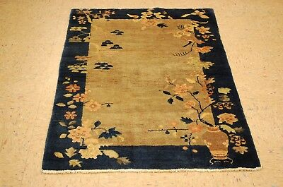 Circa 1920s ANTIQUE ART DECO WALTER NICHOLS CHINESE RUG 3x4.10 VEGETABLE DYE