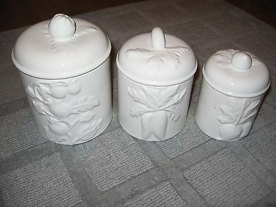 Pretty Vintage Ceramic Canister Set-3 Covered Containers