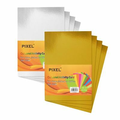 Pixel® A4 Gold & Silver Metallic Card 250GSM 10 Sheet Packs for Home & Office