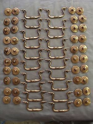 "20 Drawer Bail Pulls - 3 1/2"" Boring W/Solid Brass Handle, Brassplated Backplate"