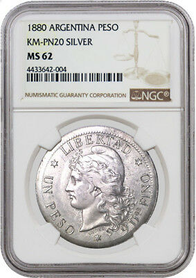 1880 Republic Of Argentina Silver Peso Pattern KM-PN20 NGC MS62