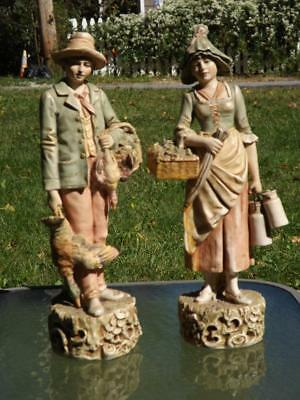 "Large Pair Royal Dux Bohemia 12"" Antique Bohemia Figurines 160 161 Girl Boy"
