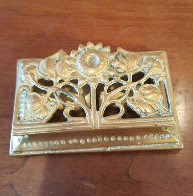 Vintage Heavy Brass Two-Compartments Stamp Box Reticulated Sunflower Hinged Lid
