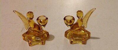 Vintage Bohemian/czech Cut To Clear Gold/amber Glass Candle Holders Cherubs