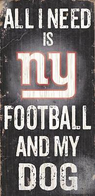 """New York Giants Football and Dog 12""""x6"""" Wood Sign Man Fan Cave Wall NY NFL <New>"""