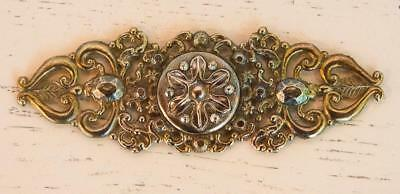 "Antique Vintage Brass Metal Piece 5.5"" Ornate Scrolling Flower Signed Shumsky"