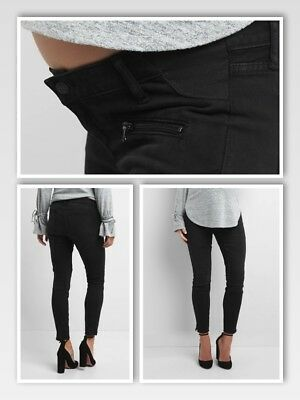 Gap Maternity Moto True Skinny Ankle Jeans SIZE 31 inset panel BLACK 119837