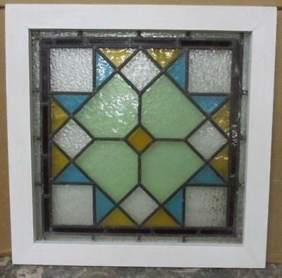"""OLD ENGLISH LEADED STAINED GLASS WINDOW Colorful Star 21.25"""" x 21.25"""""""