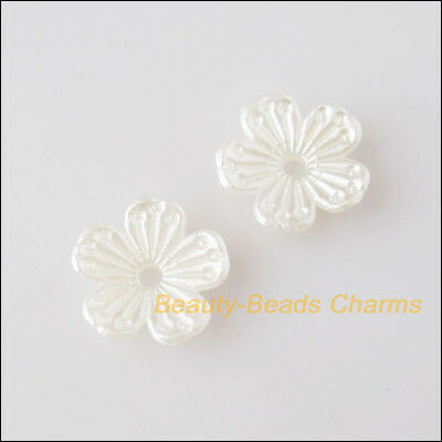 50Pcs White Plastic Acrylic Flower Star Spacer End Beads Caps Charms 11.5mm
