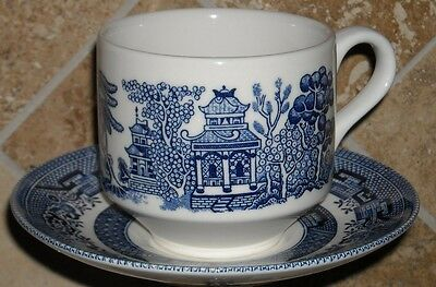 """Churchill """"willow Blue"""" 2 Cups(2 7/8"""") 2 Saucers,2 Plates, England"""