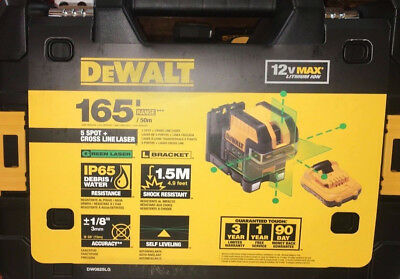 NEW WITH BATTERY, ACCESSORIES - DEWALT DW0825LG 12V 5 Spot Cross Line Laser Gree
