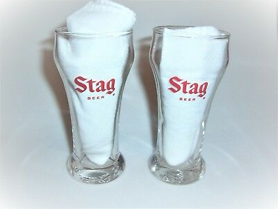 """2 Stag Beer Glasses 5 1/2"""" Tall"""