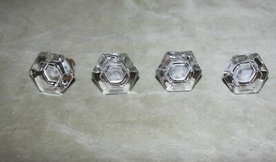 Nice-set of 4 antique beveled glass 6 sided drawer/cabinet pulls-w/ brass hardwa