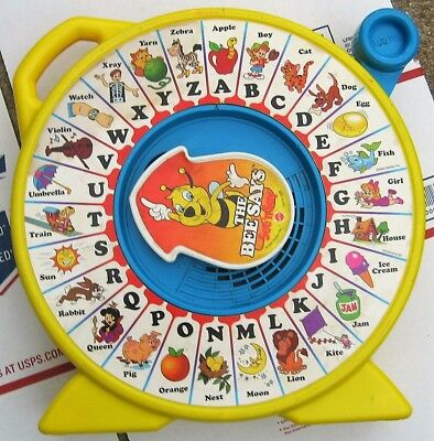 Vintage Mattel 1989 The Bee Says See 'n Say, ABCs with words, pull-lever