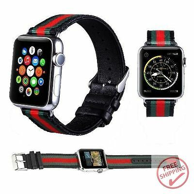 cb067bfcf5b Black red green Nylon With Leather Replacement Band For Apple Watch  42Mm 44Mm