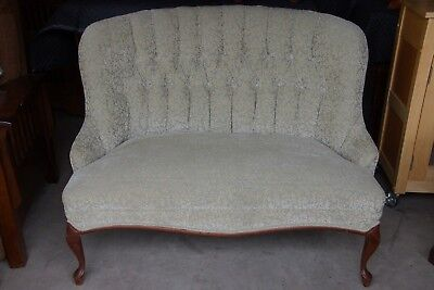 Beautifully Upholstered Vintage Gentle Green Maple Leaf Tufted Victorian Settee