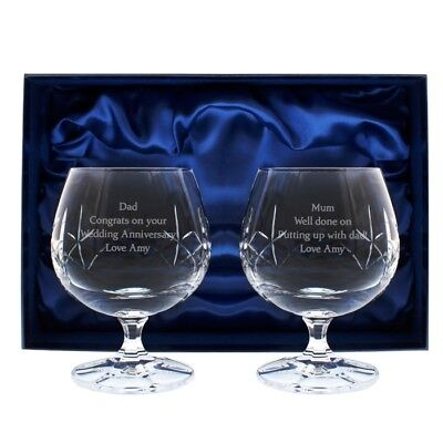 New Personalised Pair Engraved Crystal Brandy Glasses Perfect Gift Any Occasion