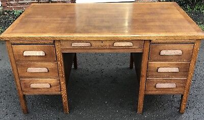 Superb 1950S Large Golden Oak  Office Writing Desk Very Clean 2 Man Delivery