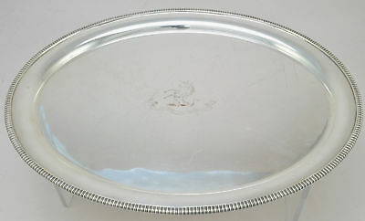 Antique Silver Plate Victorian Armorial Oval Tray 19th Century