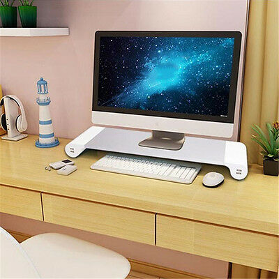 PC Computer Desktop Monitor Stand Laptop Display Screen Riser Shelf Charger HQ