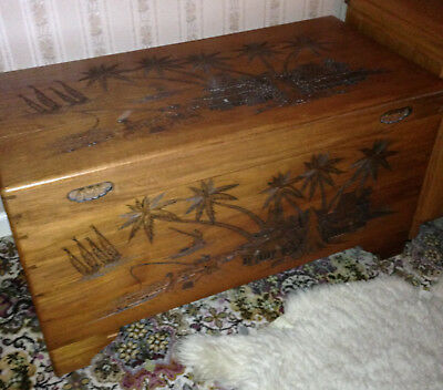 Camphor Wood Chest With Carving Detail Made In Singapore And