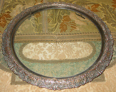 Antique Silverplate Over Copper Drinks Tray With Cut Star Design On Glass Insert