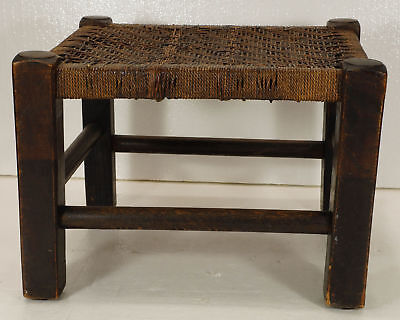 Antique English FOOTSTOOL Seat wood frame Handwoven Rush top Primitive Country