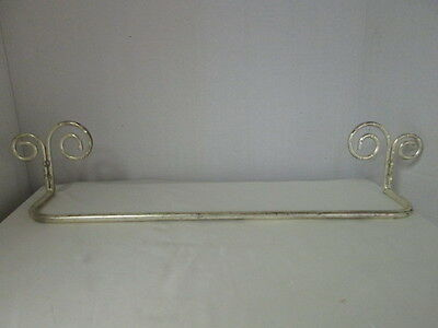 Shabby Cottage Chic Vintage Scroll Distress Metal Towel Holder Wall Mounted Bar