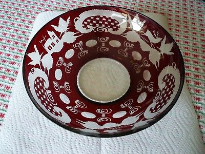 """Vintage Egermann Czech Ruby Red Cut to Clear Crystal  Bowl 8"""""""