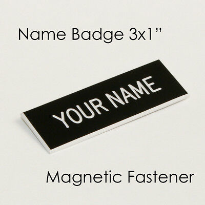 "Name Badge Tag Plate Black/White Magnet 3x1"" Personalised Engraved Customised..."